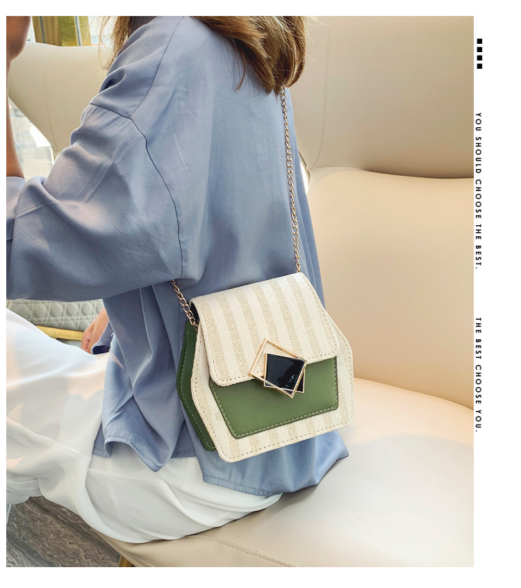 Mini Bag Girl 2019 New Korean Edition Fresh and Popular Fashion Chain PU Slant Bag Personal Bag Mobile Geometric Bag Clothes 70