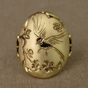 VAGZEB New Fashion Brand Gold Color Birds Flower Pattern Ring for Women Punk Vintage Finger Ring Jewelry