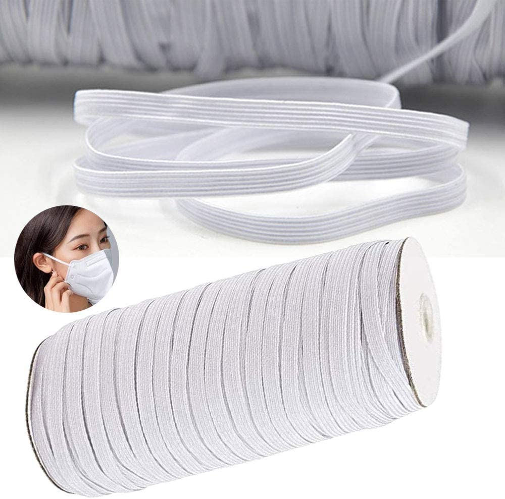 70/128/200 Yards Length 1/4 Inch Width Braided Elastic Band 6mm White Cord  For Mask Sewing Crafts DIY, Bedspread, Cuff