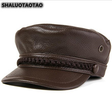 SHALUOTAOTAO New Quality Cowhide Military Hats Winter Fashion Thermal Flat Cap For Men Women Leisure Brands Genuine Leather Hat цена