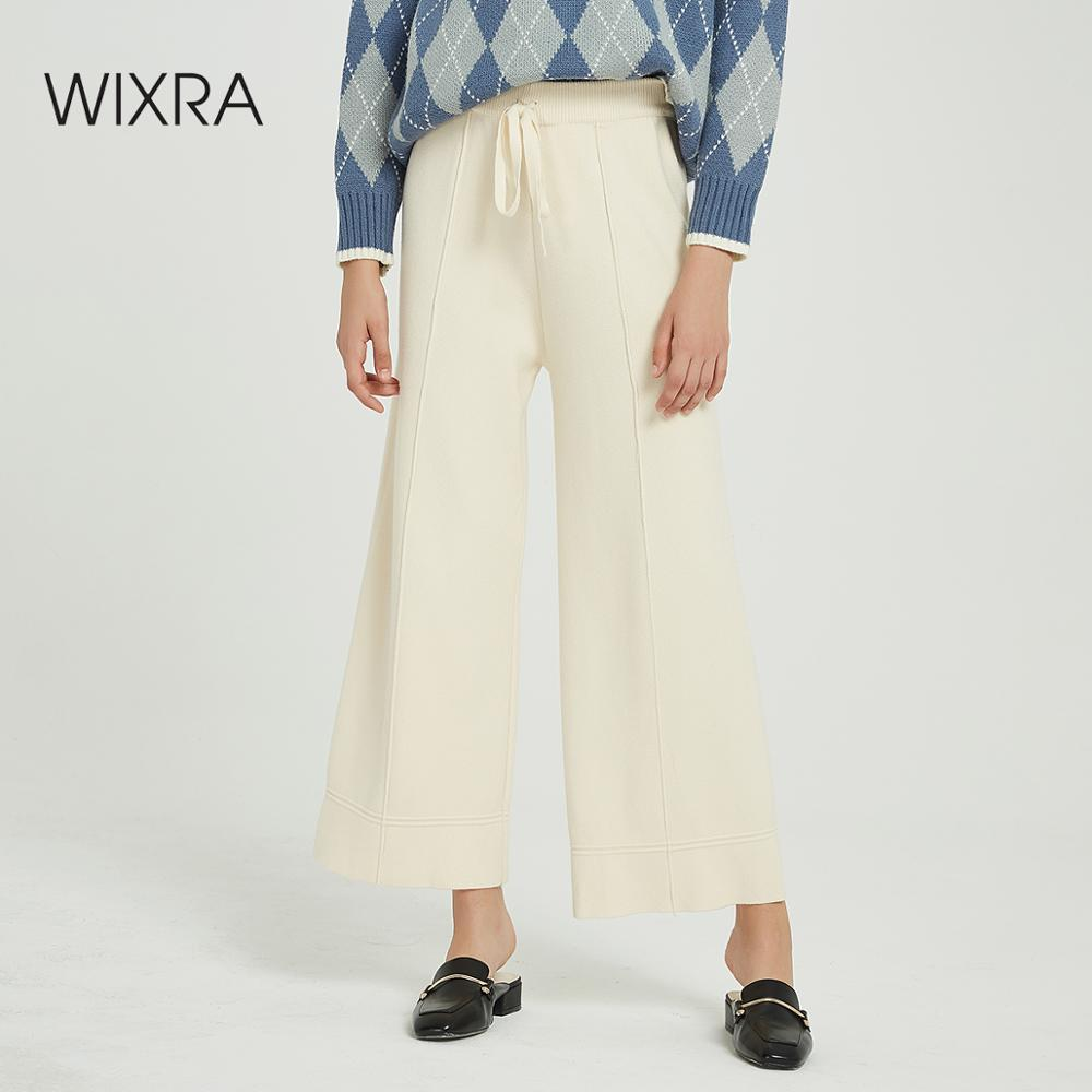 Wixra Casual Women's Knitted   Wide     Leg     Pants   Loose High Waist Lace-up Warm Thick Trousers Autumn Winter Ladies Bottom