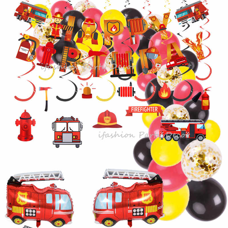 Fire Truck Party Theme Decoration Construction Party Firefighter Fire Engine Balloon Garland Kids Boys Birthday Party Supplies Party Diy Decorations Aliexpress