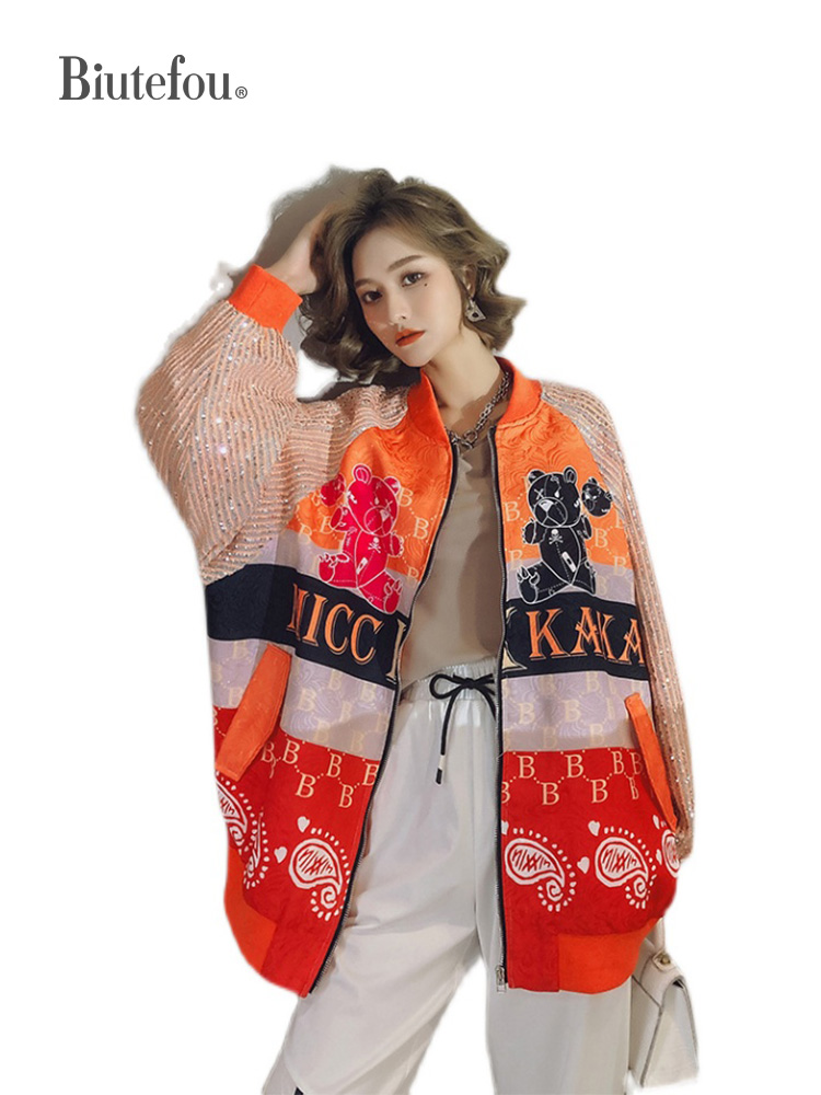 2021 Spring Women Long Sequins Print Patchwork Loose Coat 2021 Spring Women Long Sequins Print Patchwork Loose Coat