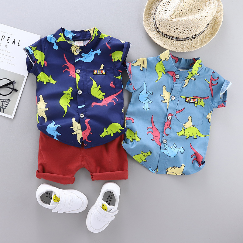 Baby Boy's Clothes Summer New Short-sleeved Shorts Dinosaur Shirt Casual Suit Cartoon Dinosaur Print Cotton Baby Two-piece Suit