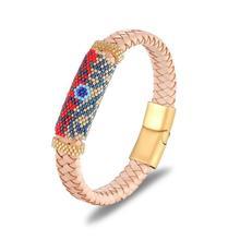 цены Shinus Miyuki Bracelet Women Boho Leather Bracelets Men Bohemian Style Handmade Jewelry Bracelets Beads Woven Pulseras Bileklik