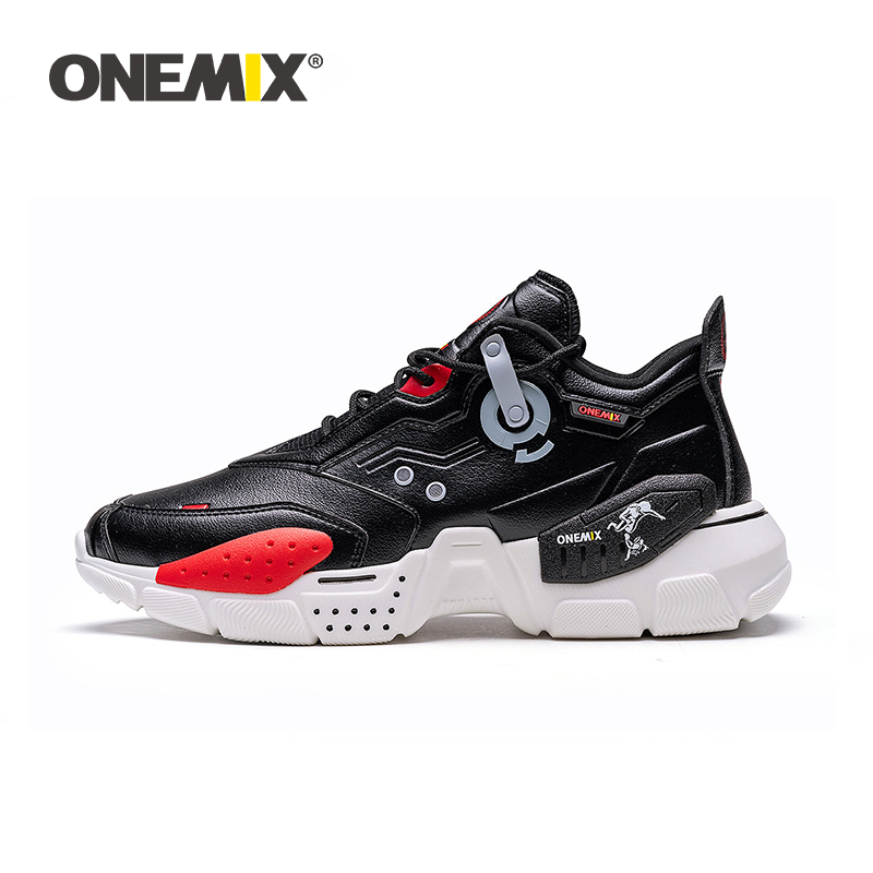 ONEMIX 2020 New Arrival Winter Running Shoes for Men Leather Vamp Lace Up Women Paltform Shoes Walking Sneakers Chunky Dad Shoes