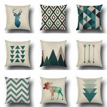 цена на Pillowcase 45*45CM Blue Nordic Geometric Linen Pillowcase Home Sofa Pillow Cushion Cover Decorative Pillowcase