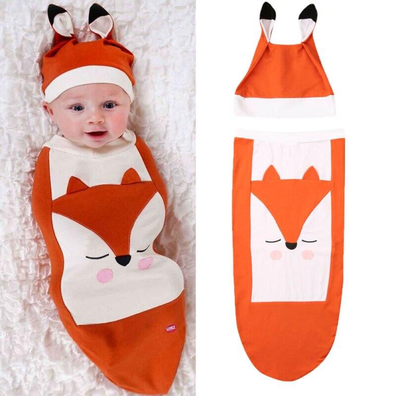 Cute Fox Baby Sleeping Bags Cotton Infant Sleeping Sack Baby Winter Baby Sleeping Bags Children Kids Pajamas Newborn Sleep Sack
