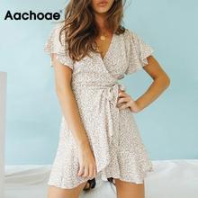 Aachoae-minivestido estampado bohemio para mujer, Vestidos de playa para vacaciones, corte en A, manga corta, fruncido, verano 2020