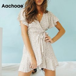 Aachoae 2020 Summer Boho Printed Mini Dress Women V Neck Holiday Beach Dresses A Line Short Sleeve Ruffle Wrap Dress Vestidos