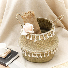 Seagrass Woven Storage Basket Plant Wicker Hanging Baskets Garden Flower Vase Potted Foldable Pot with Handle Storage Basket(China)