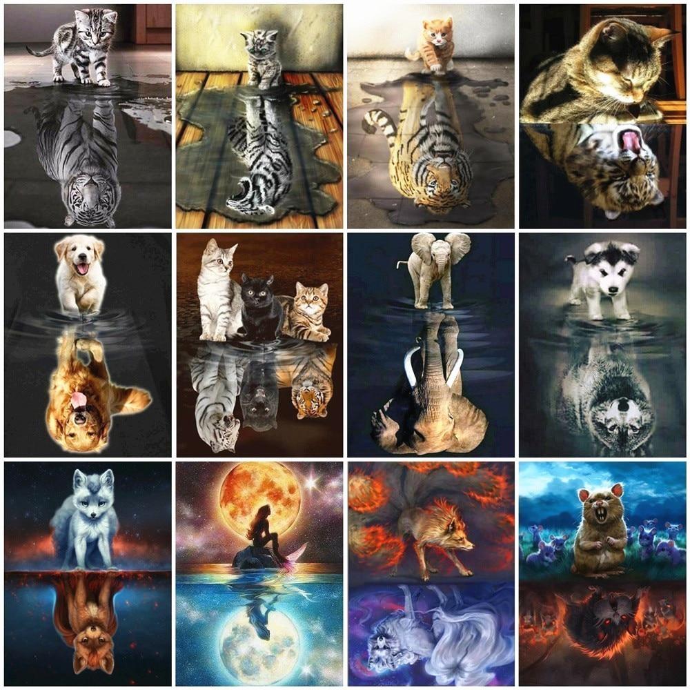 Huacan Diamond Painting Tiger 5D DIY Diamond Mosaic Cat Diamond Embroidery Animals Rhinestones Pictures Full Square Home Decor