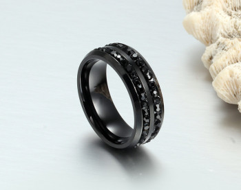 ZORCVENS High Quality Male Punk Vintage Black Stainless Steel Jewelry Two Rows CZ Stone Wedding Ring for Man Woman 4