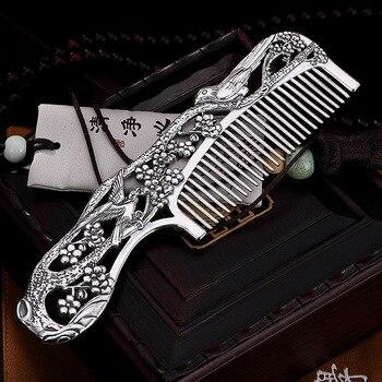 999 Pure Silver Retro Personality Magpie Plum Creative Silver Comb Hair Comb