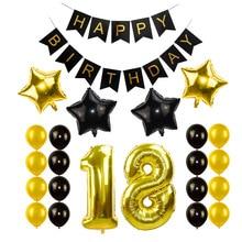 Черное золото с днем рождения баннер шары гелий номер фольги воздушный шар для маленьких мальчиков детей взрослых 18 30 день рождения украшения