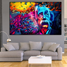 Modern Street Graffiti Wall Art Canvas Albert Einstein Posters And Prints Spray Painting Art Pictures For Living Room Decoration
