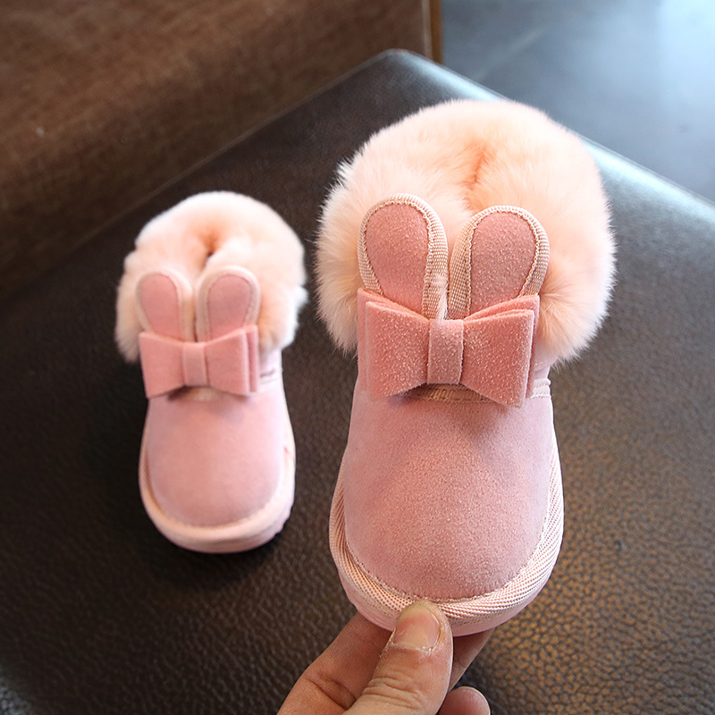 Children Girls Snow Boots Solid Cute Princess Thick Plush Warm Slip-On Shoes Cotton Kids For 1-3 Years Old Winter Shoes AELNN531