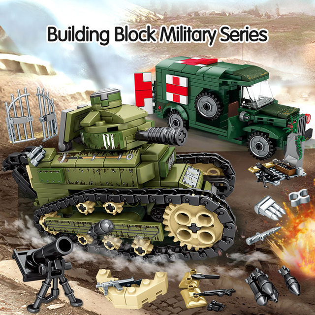 596PCS City Military Building Blocks For  WW2 Steel Empire-Renault FT17 Tank Soldier Figures Bricks Toys For Children