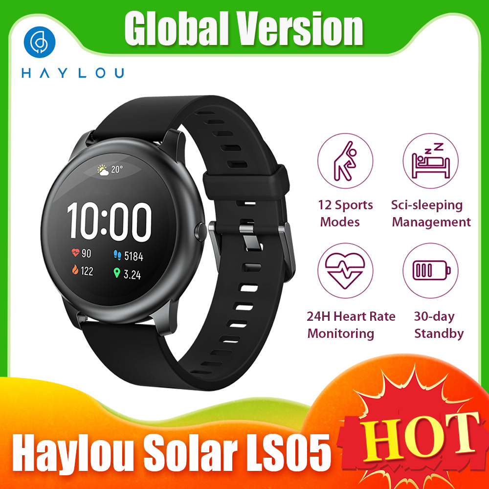 Global Version Haylou Smart Watch Solar LS05 12 Sports Mode Music Control Sport Wristband Heart Rate Monitoring Fitness Bracelet
