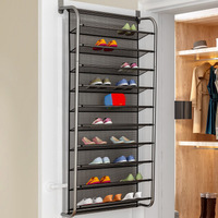 Economical Over Door Hanging Shoe Rack Shoes Organizer Wall Mounted Shoe Hanging Shelf Multi layer Household ds99