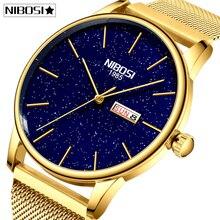 Nibosi casal relógio relogio feminino homem e mulher à prova dwaterproof água relógios masculinos 2020 marca de luxo elegante relógios femininos inoxidável