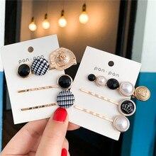 3Pcs/Set Women Barrette Metal Gold Pearl Hair Clip For 2019 Fashion Korean pins Hairband Accessories Jewelry