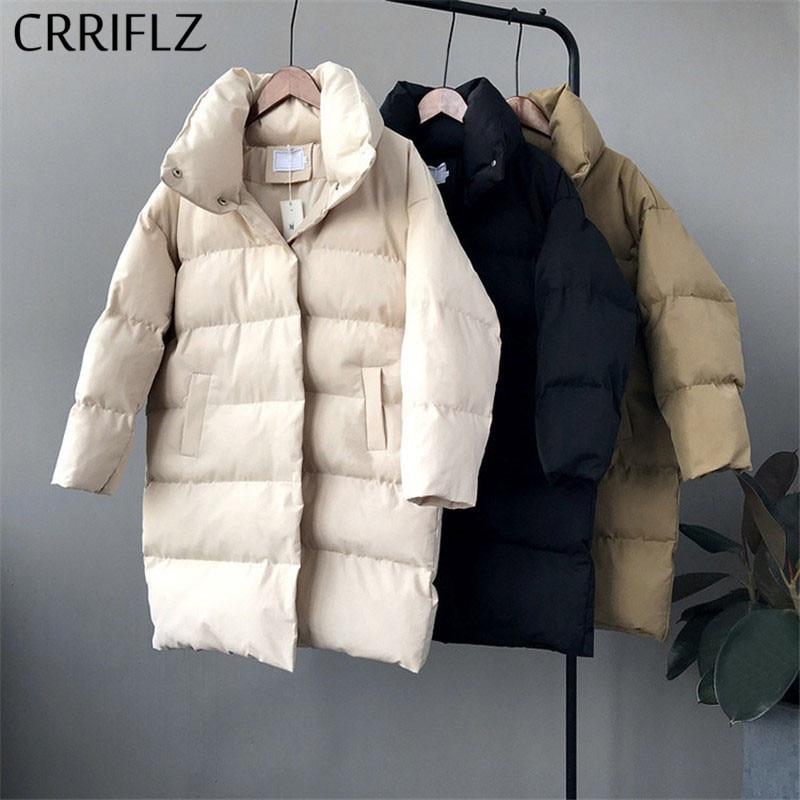 CRRIFLZ Down Jacket Women Winter Outerwear Coats Female Long Casual Warm Down Puffer Jacket Parka Branded
