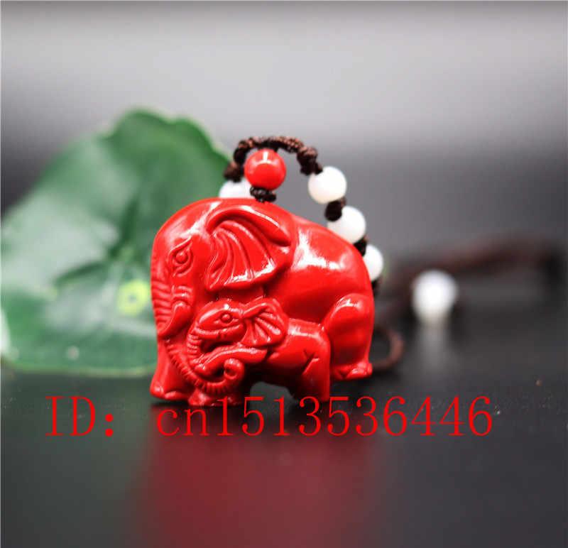 סיני טבעי אדום אורגני כינאבאר אמא-ילד פיל שרשרת תליון קסם תכשיטי אופנה מזל קמע מתנות