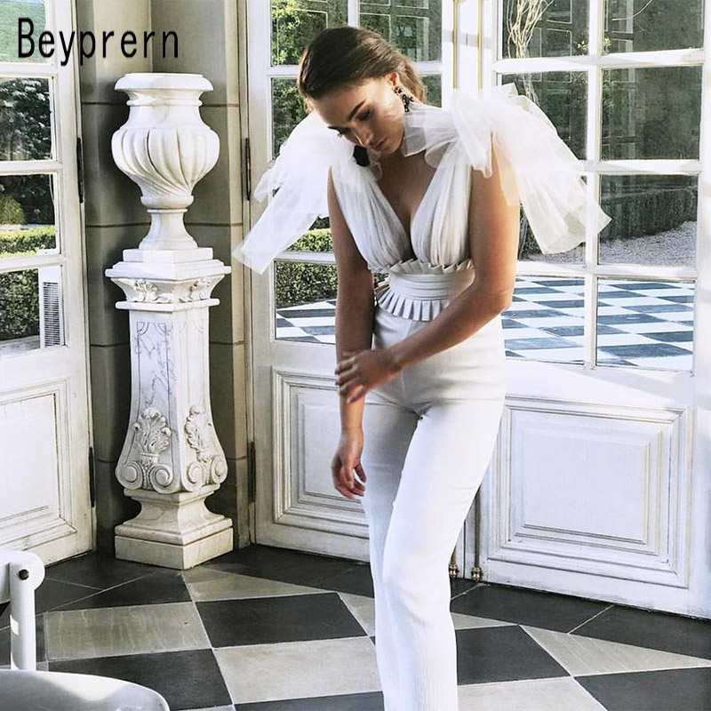 Beyprern Elegant White Mesh Bandage Jumpsuit Chic Womens Ruffled Leather Patchwork Jumpsuit Overalls Party Catsuit Streetwears