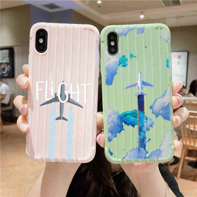 Avião de ar dos desenhos animados trole mala textura caso do telefone iphone 11 pro max x xs max 8 7 6 s mais bonito doces cor embalagem