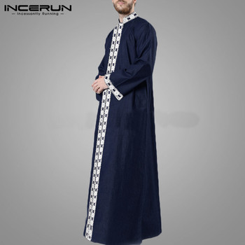 Islamic Arabic Kaftan Men Muslim Lace Patchwork Long Sleeve V Neck Jubba Thobe Fashion Middle East Men Robes INCERUN Plus Size