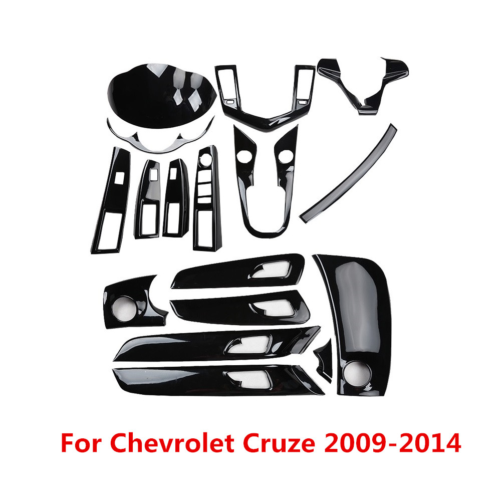 Glossy Black Car Interior Mouldings Center Outlet Gear Handle Panel Cover Window Control Trim For Chevrolet Cruze 2009-2014