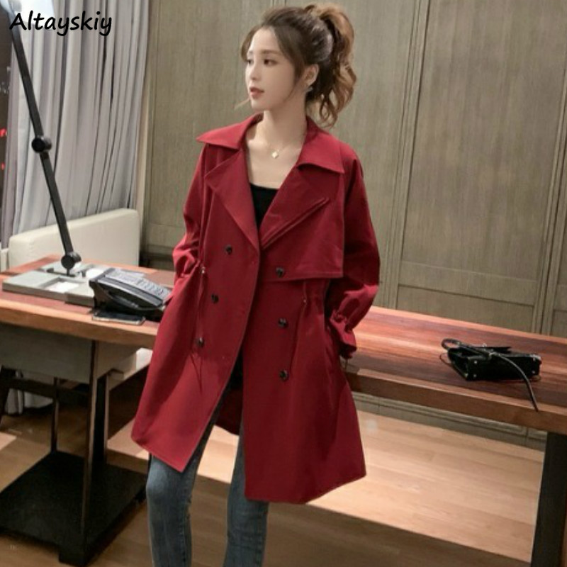 Trench Women High Waist Medium-long All-match Delicate Turn-down Collar Womens Student Elegant Korean Style Slim-fit Pretty Chic