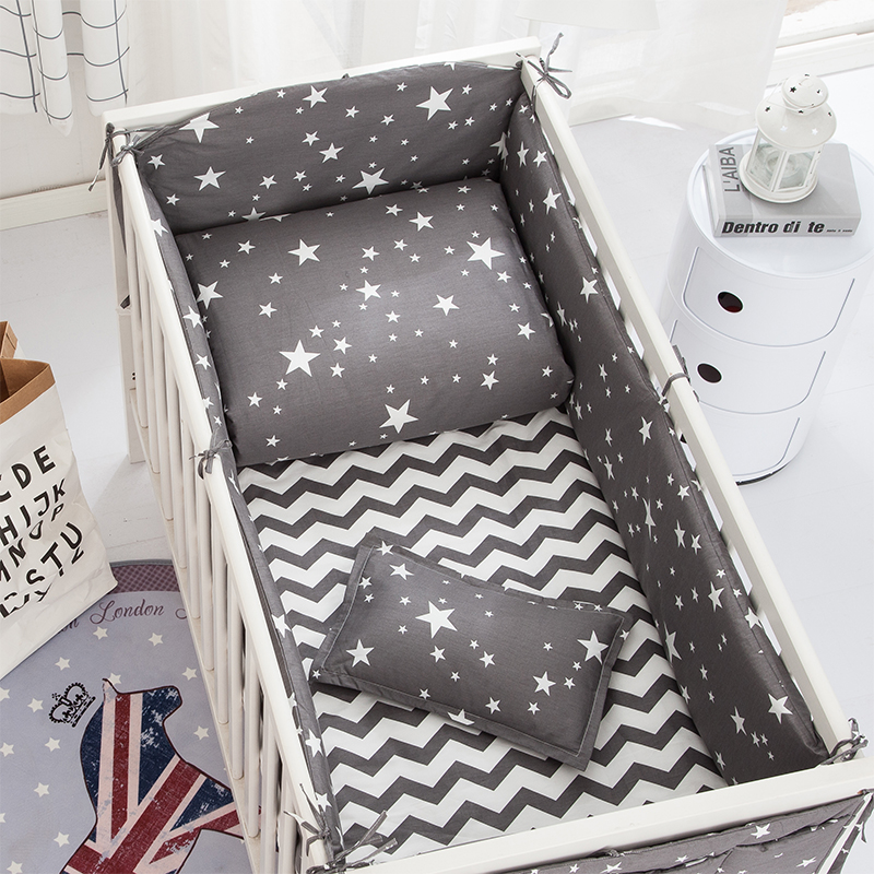 6/9pcs Stars Crib Bumpers Baby Crib Bedding Set Kit Berço For Girls Boys Cartoon Bed Flat Sheet  120*60/120*70cm
