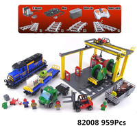 QUEEN 82008(02008) 959PCS compatible 60052 robot train with track toy Building Bricks Blocks educational toys boy Birthday Gift