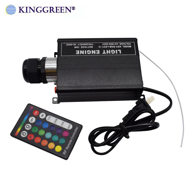 1X High Brightness RGB LED lighting 16W fiber optic light engine with 24key RF remote controller free shipping