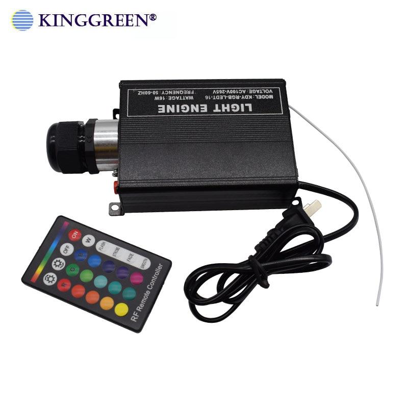 1X High Brightness RGB LED Lighting 16W Fiber Optic Light Engine With 24key RF Remote Controller Free Shipping