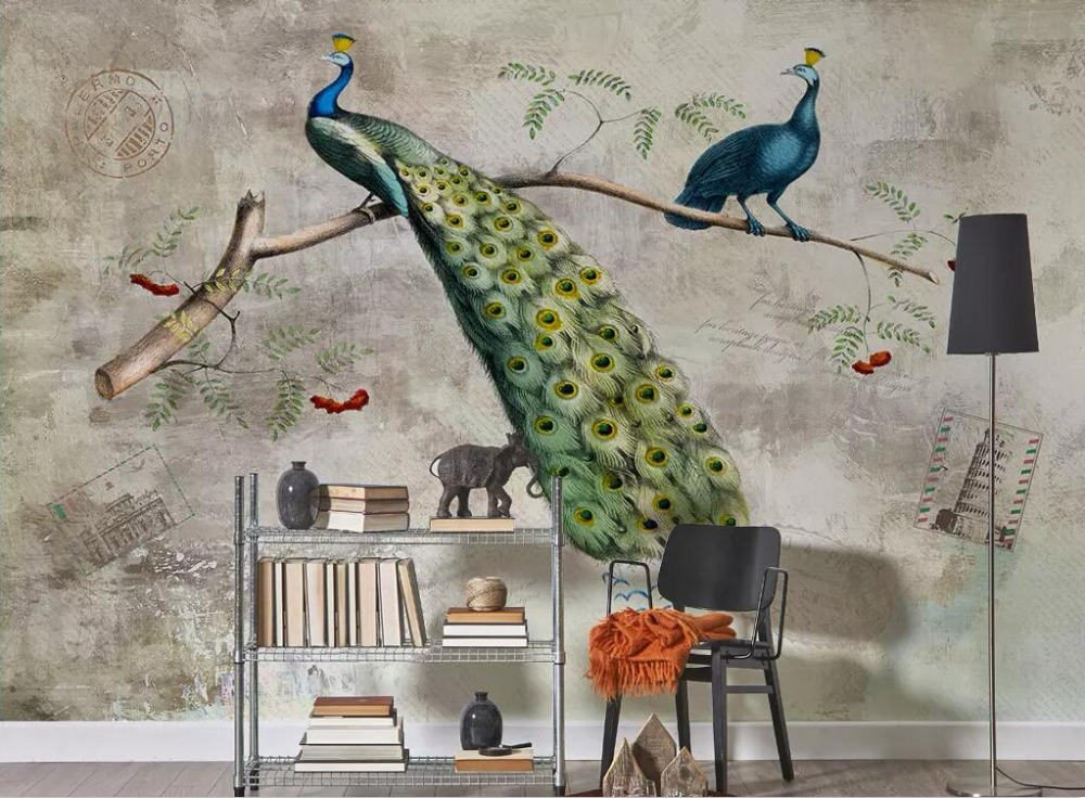 CJSIR Custom Wallpaper Retro American Branches Peacock Mottled Shading TV Background Wall Decoration Mural 3d Wallpaper Decor