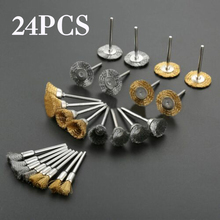 24pcs Brass Steel Wire Wheel Brush Polishing Grinder Accessories Rotary Tool Kit  Round Brushes Disc For Dreme Die Grinder