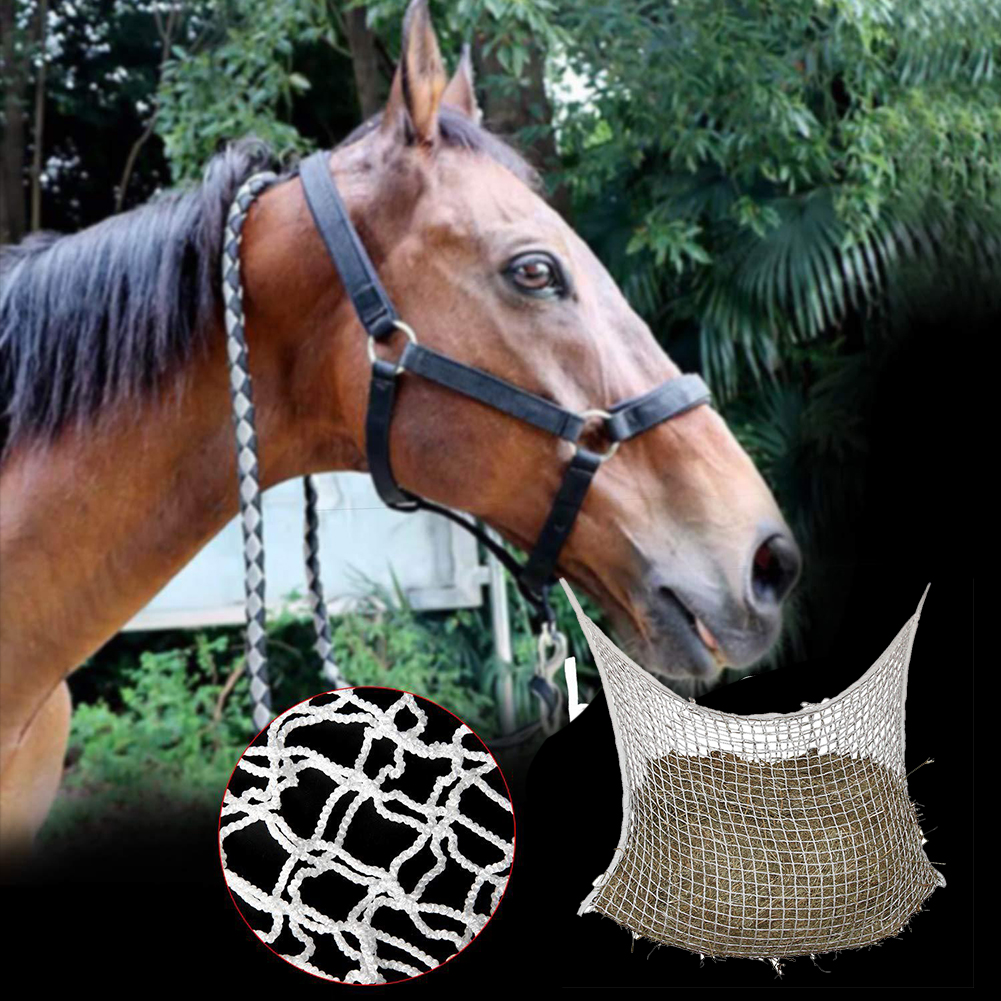 Home Hanging Large Capacity Braided Nylon Farm Storage Cattle Horse Feeding Portable Hay Bag Small Hole Mesh Net Wear Resistant