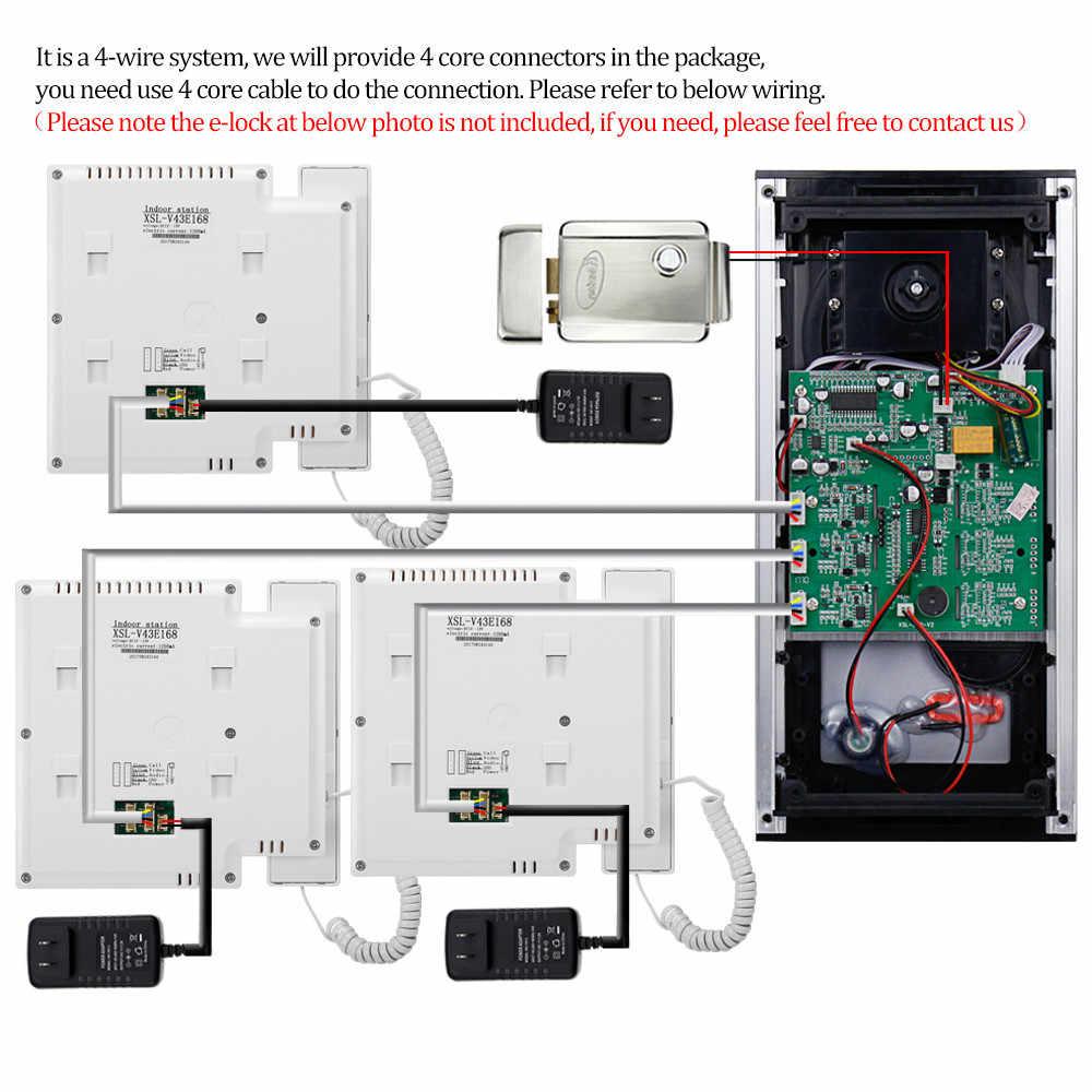 OBO الأيدي 4.3 بوصة TFT اللون جرس باب يتضمن شاشة عرض فيديو فيديو نظام اتصال داخلي السلكية جرس الباب شاشة البيني رصد للمنزل