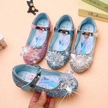 Chaussures de princesse Disney pour filles, en cuir, à paillettes, cristal, Elsa, talon plat, chaussures simples, papillon