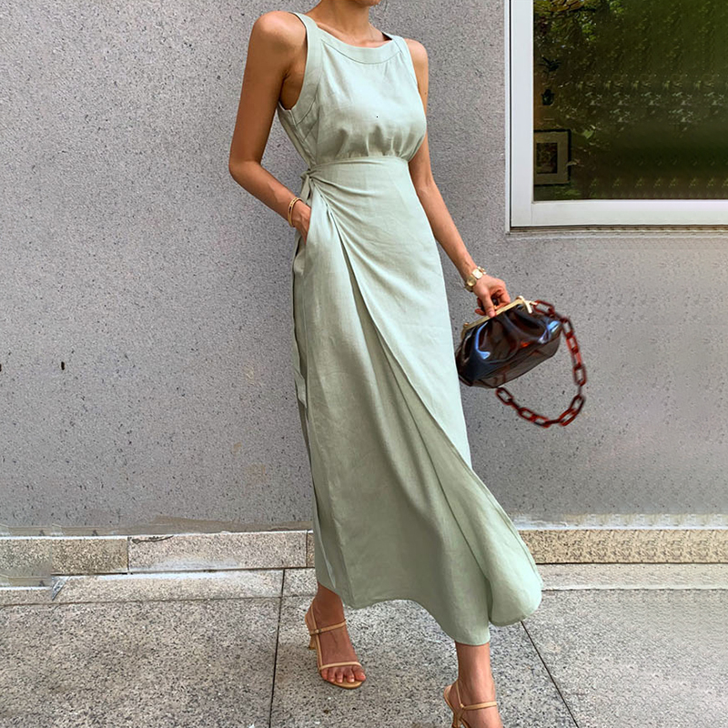 CHICEVER Summer Sleeveless Solid Dress Women O Neck Off Shoulder High Waist Bandage Elegant Midi Dresses Female Fashion 2020 New 3