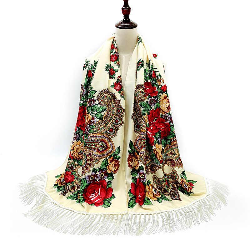 女性ラップスカーフ冬のショール女性ロシアバブーシュカロングヒジャーブ花柄ドゥパッタレトロウクライナポーランドフリンジスカーフ