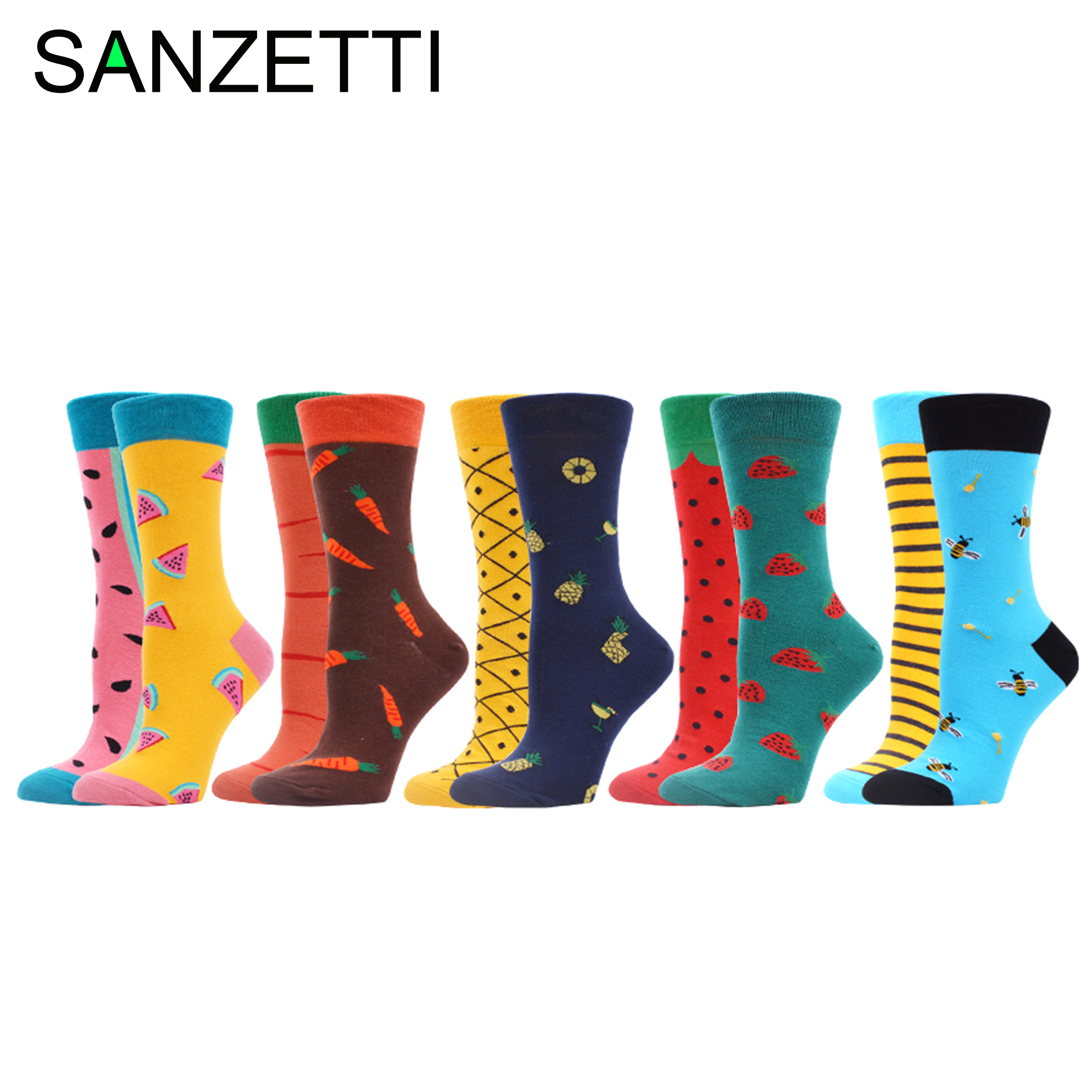 SANZETTI 5 Pairs Women's Funny Colorful Combed Cotton Socks Donut Ice Cream Oil Painting Ankle Socks Novelty Wedding Gifts Socks