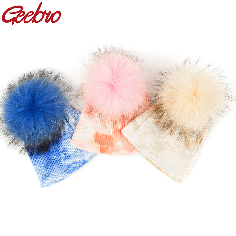 Geebro Newborn Baby Girls Boys Ribbed Cotton Multi Color Real Fur Pompom Beanies Hats Winter Soft Knitted Caps For Girls Gifts