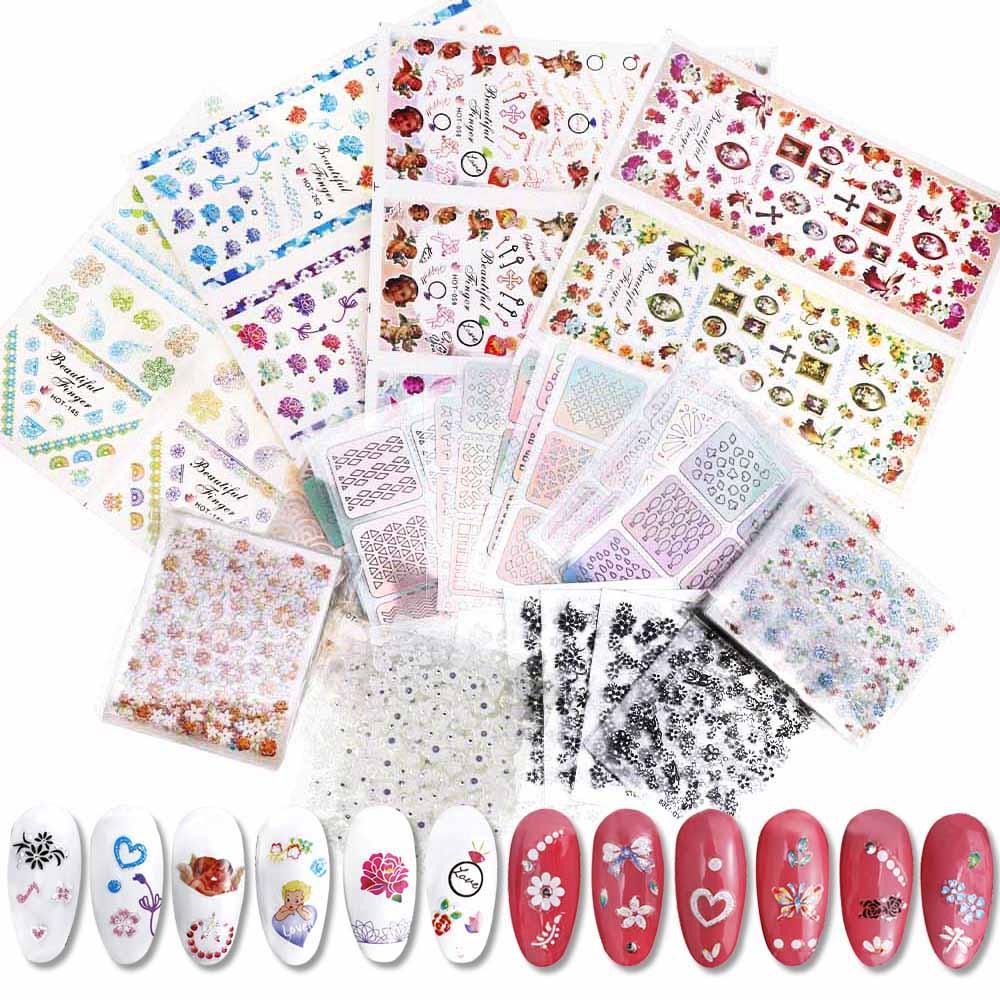 30pc/24pc/48pc 3D Nail Sticker Nails Art Sticker Fashion 3D Flower Design Girl And Women Religion Empaistic Nail Slide Decals