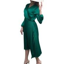 Satin Women Dress For Wedding Party Sexy V Neck Lantern Long Sleeve Ruffle Dress High Waist Solid Green Elegant Lady Dress D30 casual v neck long lantern sleeve women s green dress