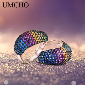 UMCHO 2020 Brand Jewelry Colorful Inlay Cubic Zirconia Ring For Women Cocktail Ring Wedding Party Banquet Fine Jewelry-C0430(China)