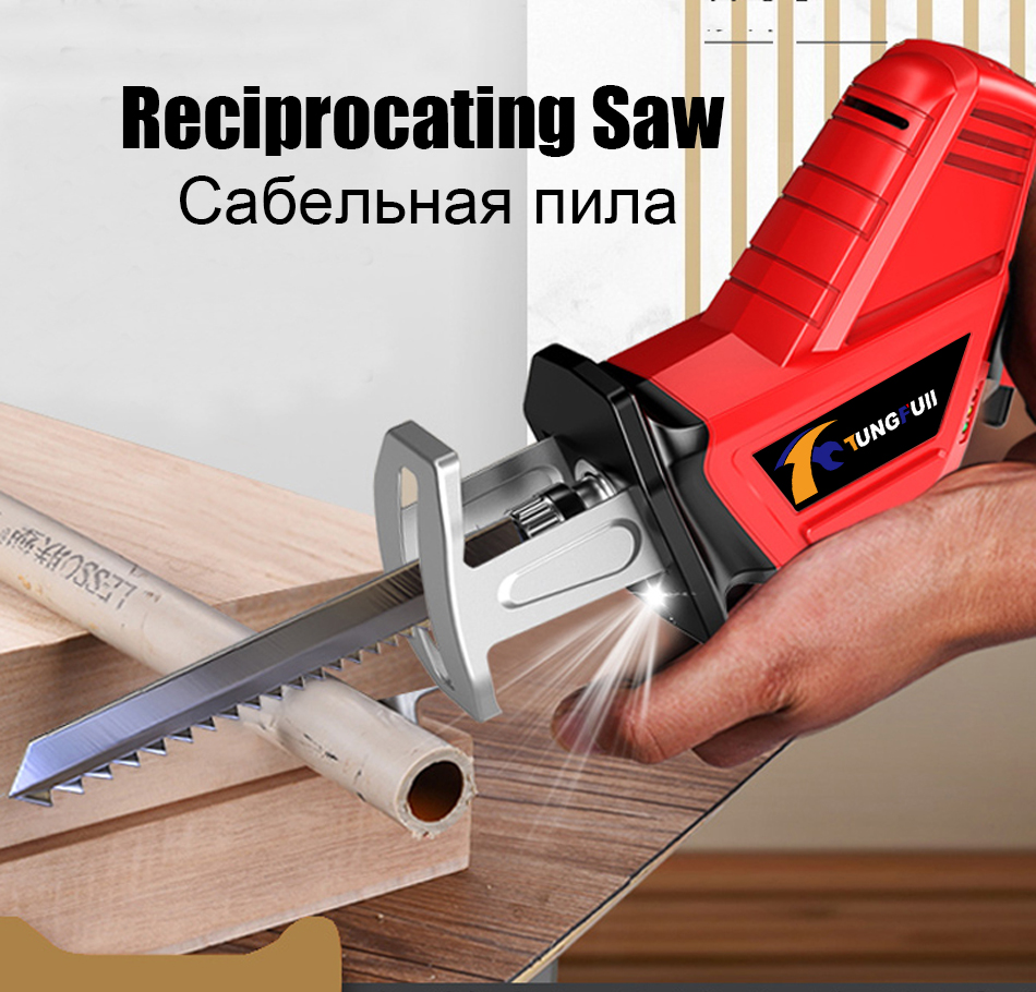 Miniature Cordless Reciprocating Saw Electric Saber Saw Blade Wood Metal Chain Saws Cut Power Tool Portable 36VF 4500mAh Electric Saws     - title=